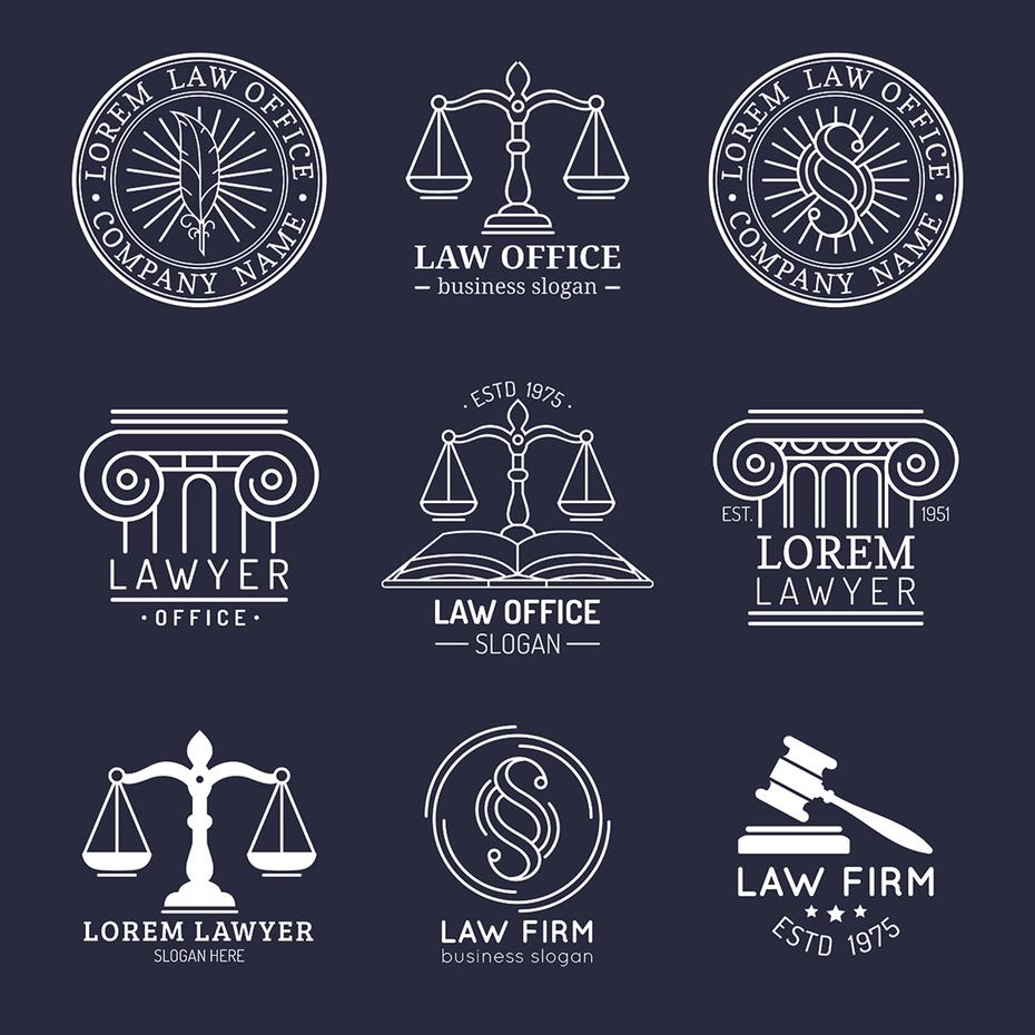 成都律师事务所logo标志设计公司|国外法律天平小木槌品牌vi标志商标图片