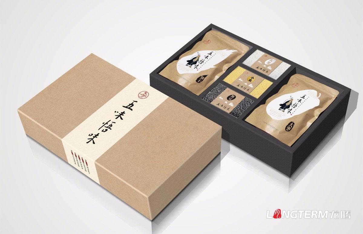 五味悟味五谷杂粮产品包装设计|笋干大枣大米小米黑豆系列产品包装设计礼盒效果图