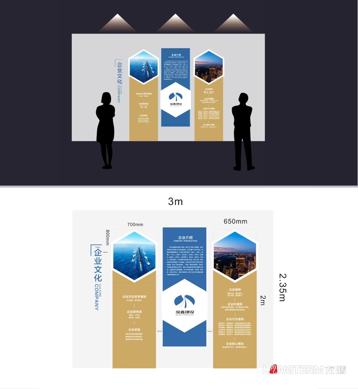 宝鑫建设企业文化墙形象墙设计与安装_成都建设建筑公司办公室氛围营造
